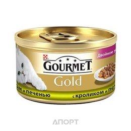 """Gourmet Gold кусочки в подливке """"Двойное удовольстивие"""" с кроликом и печенью 0,085 кг"""