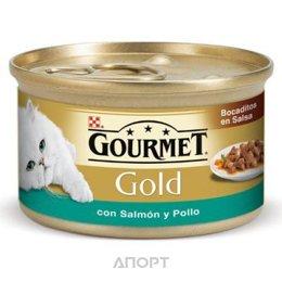 Gourmet Gold кусочки в подливе с лососем и цыпленком 0,085 кг