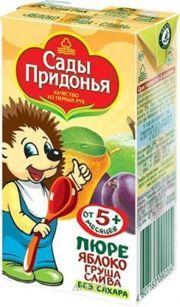 Фото Сады Придонья Пюре яблоко, груша, слива, с 5 мес. 125 г