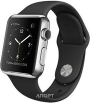 Фото Apple Watch 38mm Stainless Steel Case with Black Sport Band (MJ2Y2)