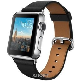 Apple Watch 38mm Stainless Steel Case with Black Classic Buckle (MLE62)