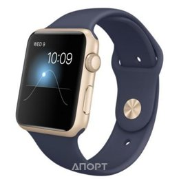 Apple Watch 42mm Gold Aluminum Case with Midnight Blue Sport Band (MLC72)