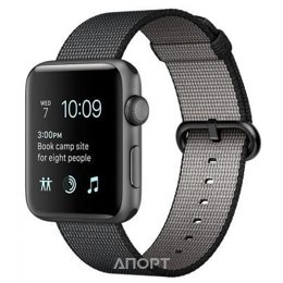 Apple Watch Series 2 38mm Space Gray Aluminum Case with Black Woven Nylon Sport Band (MP052)