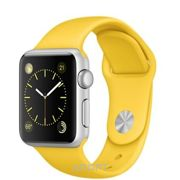 Фото Apple Watch Sport 38mm Silver Aluminum Case with Yellow Sport Band (MMF02)